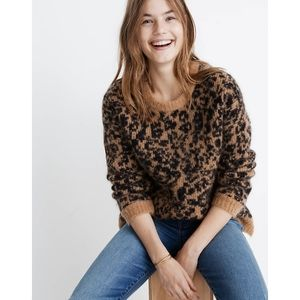 Madewell Crewneck Pullover Sweater in Leopard M
